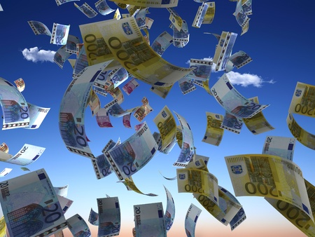 falling money: Money denominations on a background of the sky Stock Photo