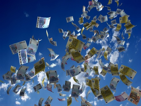 flying money: Money denominations on a background of the sky Stock Photo
