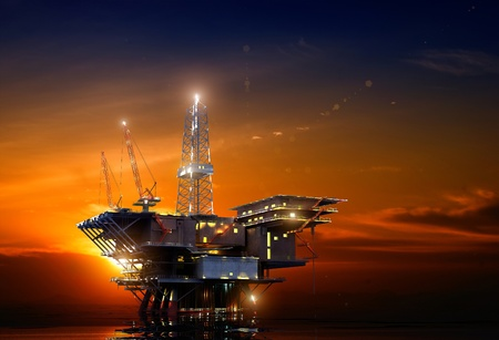 drilling well: Installation for oil at night Stock Photo