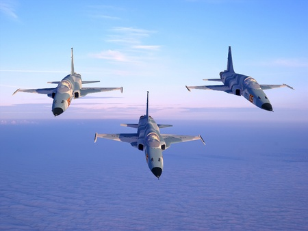 military aircraft: With military planes against the sky