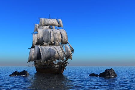 shopkeeper: Antique sailing ship at sea. Stock Photo