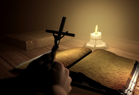 antique jesus: Still-life with the crucifixion on a table  Stock Photo