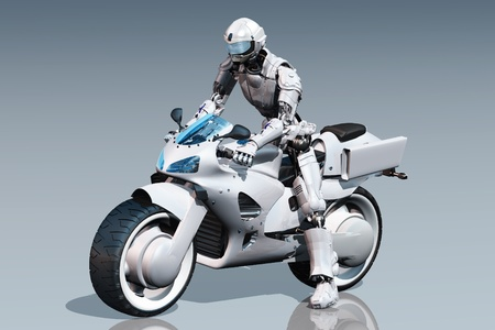 and fiction: Cyborg and a motorcycle on the mirror surface. Stock Photo