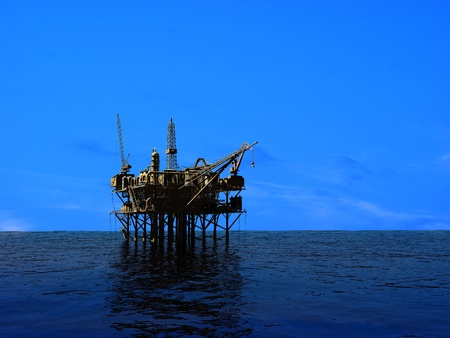 torre de perforacion petrolera: Plataforma petrolera en la tarde noche