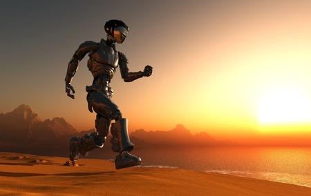 cyborg: Cyborg runs along the beach. Stock Photo