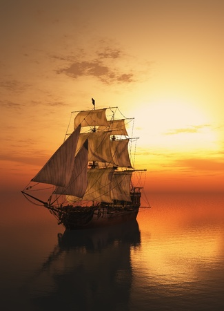 merchant: Vintage sailboat vmore at sunset.
