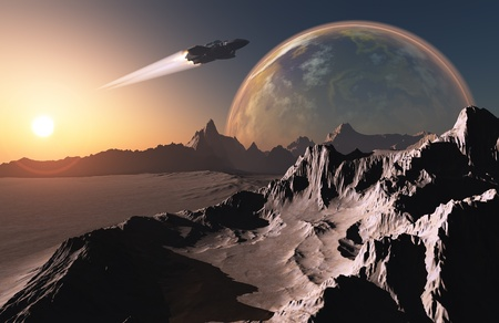 altitude: Fantastic mountain landscape of the planet.