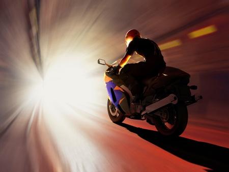 高速道路上のバイクレース 写真素材