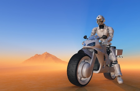 Robot on a motorcycle against a colorful landscape. photo