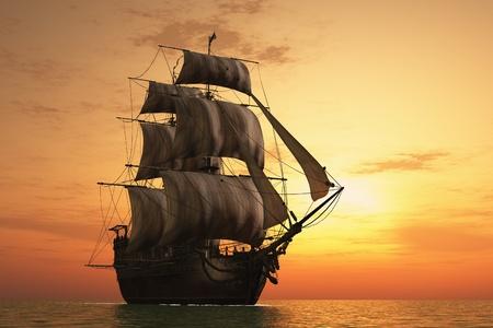 tall ship: Vintage sailboat vmore at sunset.
