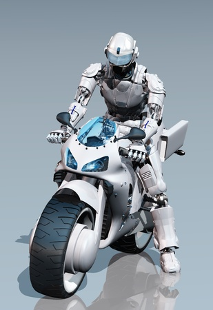 Cyborg and a motorcycle on the mirror surface. photo