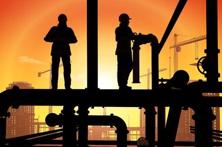 trabajador petrolero: Los trabajadores del petróleo en un fondo del cielo Foto de archivo