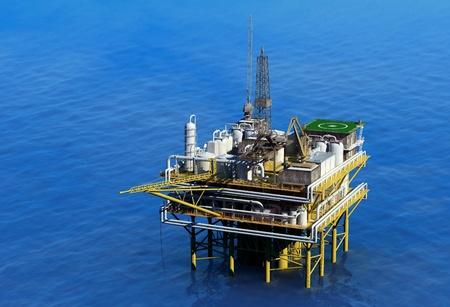 torre de perforacion petrolera: Aceite Dabycha al mar desde lo alto.