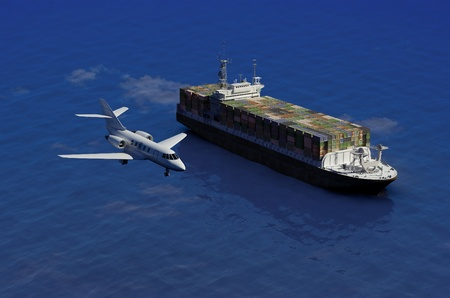 airplane cargo: The cargo ship and plane on a background of the sea