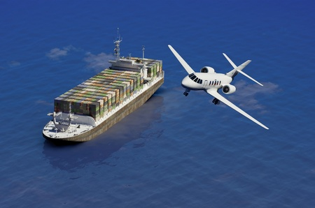 air speed: The cargo ship and plane on a background of the sea
