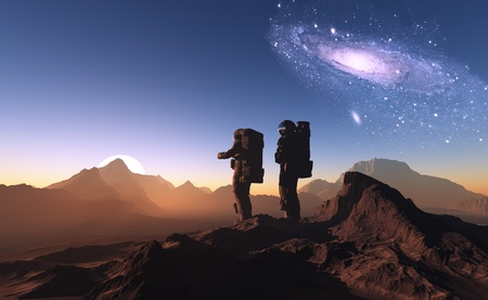 pilot light: The astronauts on a background of a planet   Stock Photo