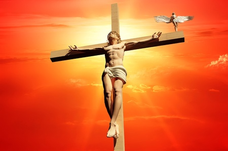 religious life: The Christ on a background of the sky  Stock Photo