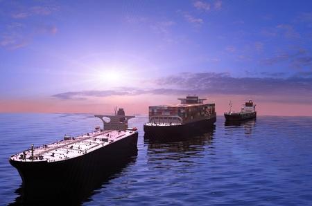 De vrachtschepen in de zee