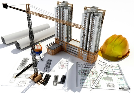 construction site helmet: Draft of building on a table Stock Photo