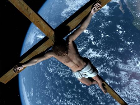 kruzifix: Der Christus auf dem Hintergrund eines Planeten