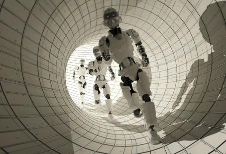 Robots run on the tunnel. photo