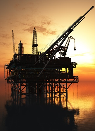 oil rig: Oil production in the sea