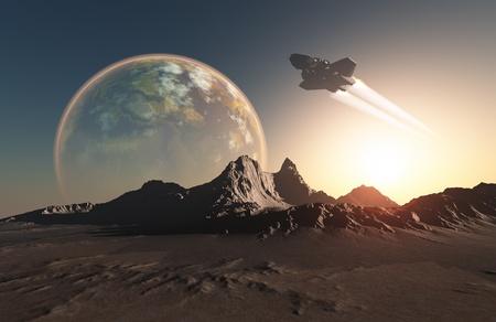 Ruimtevaartuig over het bergachtige terrein van de planeet. Stockfoto