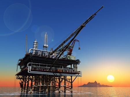 pozo petrolero: Estación de petróleo en el mar.