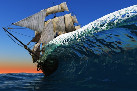 Antique sailing ship on a colorful wave of the sea.