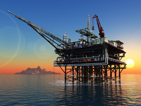 Station for oil in the sea. Stock Photo