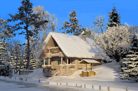 A wooden house near the woods, winter. Stock Photo - 20118945