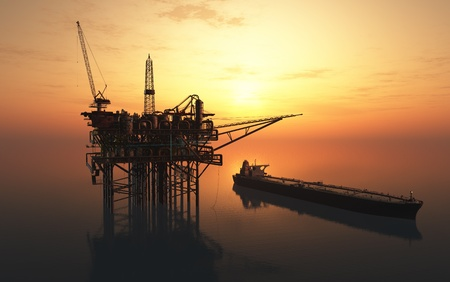 Dabycha olie in de zee van bovenaf. Stockfoto