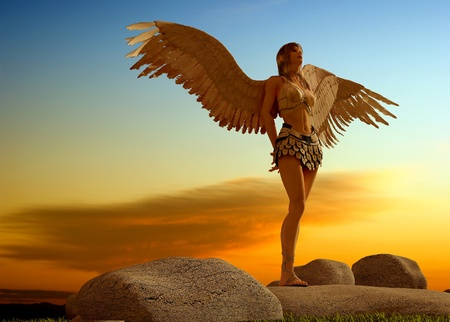 angel girl: Female angels in the landscape. Stock Photo