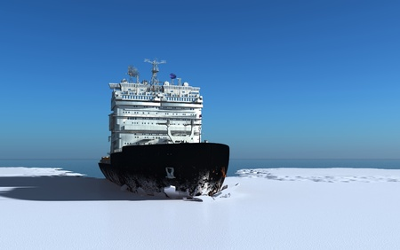 Icebreaker ship on the ice in the sea. photo