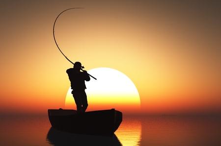 Silhouet van de visser bij zonsondergang.
