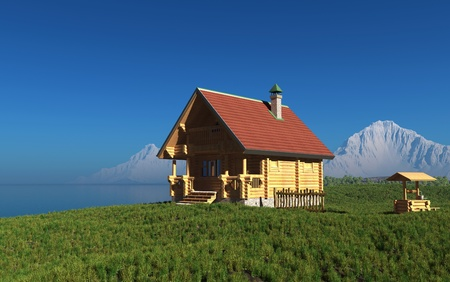 close icon: A wooden house on the background of the mountain landscape.