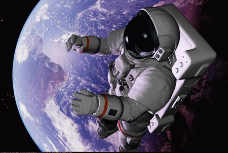shuttle: The astronaut on a background of a planet