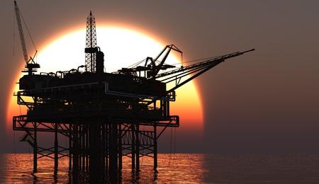 pompe: Impianto offshore a tarda sera