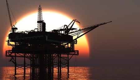 oil and gas: Oil Rig at late evening