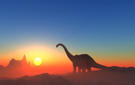 Giant dinosaur in the background of the colorful sky. Stock Photo - 20118963