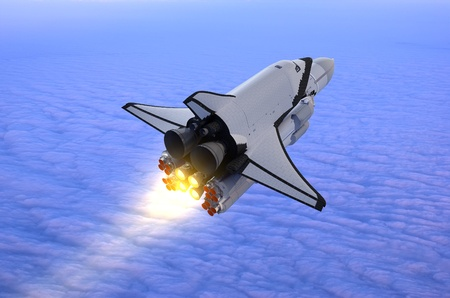 Space transport on a background of the sky    Stock Photo