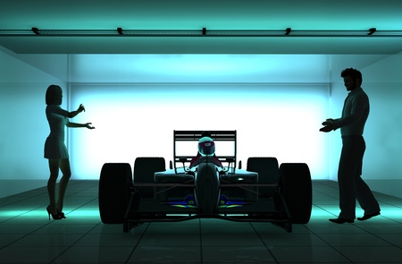 racecar: Silhouettes of people and racing cars.