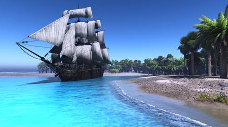 緑の島のラグーンの帆船。 写真素材