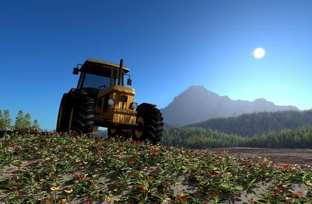 front loader: Tractor en el fondo del paisaje de monta?a. Foto de archivo