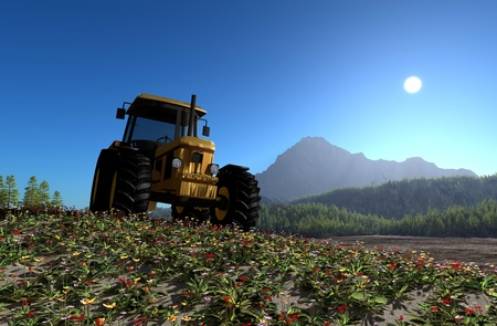 power shovel: Tractor in the background of the mountain landscape. Stock Photo