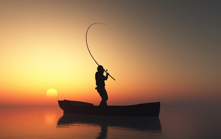 Fisherman silhouette at sunset. photo