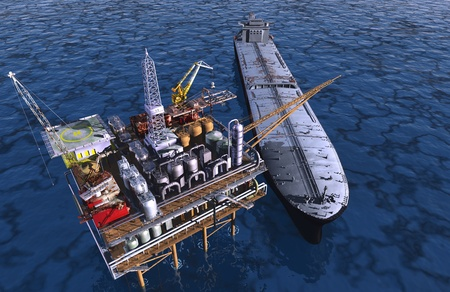 extraction: Dabycha oil into the sea from above.