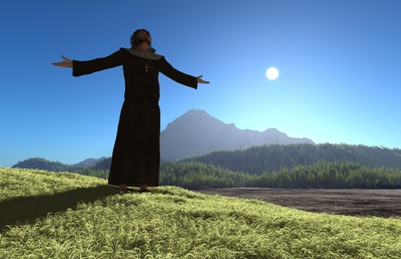 A silhouette of a priestin in the background of the mountain landscape. photo