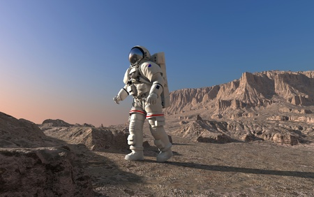 spaceman: The astronaut  on the background of the planet.