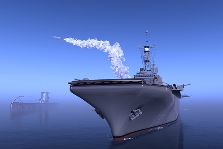 naval: Warship in the sea makes a shot Stock Photo